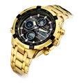 Роскошные Золотые Моды Деловые Мужчины Кварцевые Часы Золотой Горный Хрусталь Мужчины Наручные Часы relogio masculino