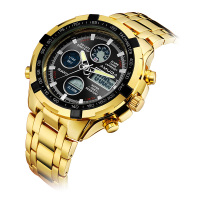 Luxury Gold Fashion Business Men Quartz Watch Golden Rhinestone Male Wrist Watch Relogio Masculino