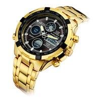 Luxury Gold Fashion Business Men Quartz Watch Golden Rhinestone Male Wrist Watch Relogio Masculino