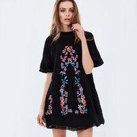 Kwiat Haft Suknie Dla Kobiet Lato Loose Midi Hippie Boho Chic Style Bawełna Vintage Wakacje Czarna Sukienka Kobiet Ubrania