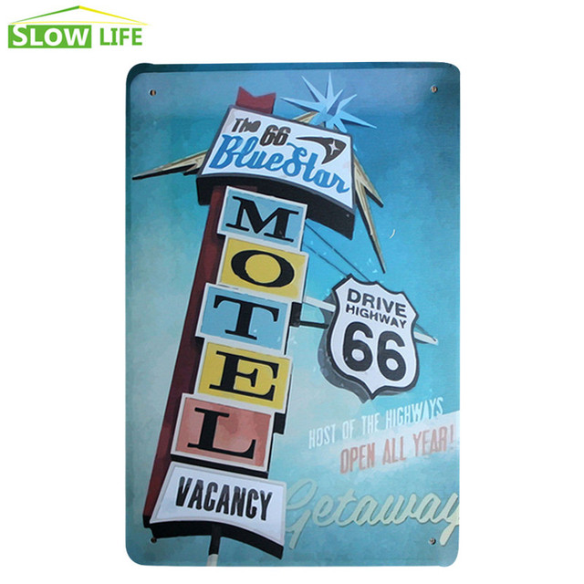 US Route 66 Motel Cafe Bar Pub Wall Decor Metal Sign Vintage Home Decor Tin  Sign