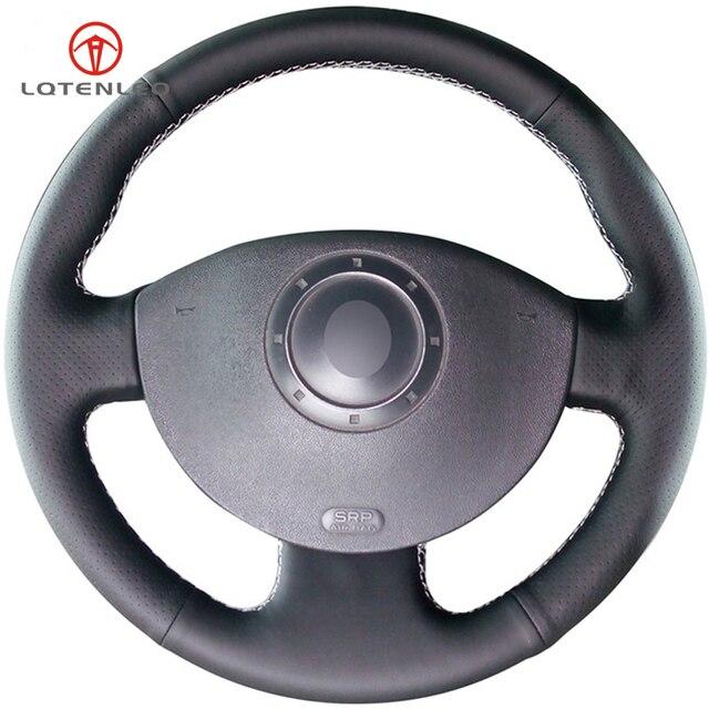 LQTENLEO черный кожаный чехол на руль автомобиля для Renault Megane 2 2003-2008 Kangoo 2008 Scenic 2 2003-2009