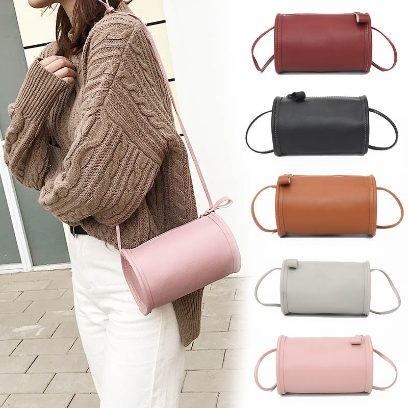 2019 Hot Sale 1 Pcs Women Mini Crossbody Bag Classic Lady PU Leather Cylinder Round Shoulder Bags  Bolsos Mujer KA-BEST