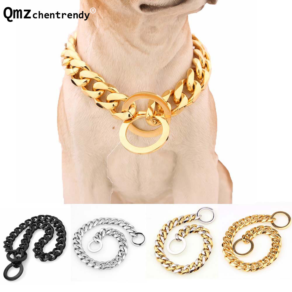 15mm Strong Silver Gold Stainless Steel Dog Collar Dogs Training Choke Chain Collars for Large Dogs Pitbull Bulldog Necklace
