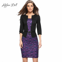 Alglam Doll One-Piece Patchwork Pencil Dress With Belt Women Slim Sheath Bodycon Print Vestido Office Ladies Business Work Dress