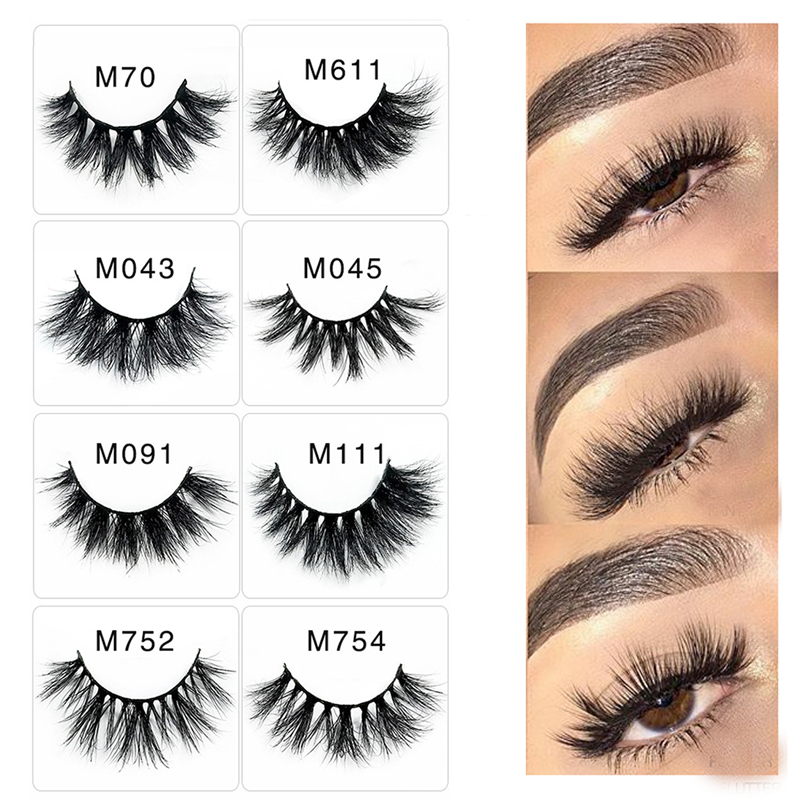 1 Pair 5D 25mm Mink Eyelashes Natural False Eyelashes Fake ...