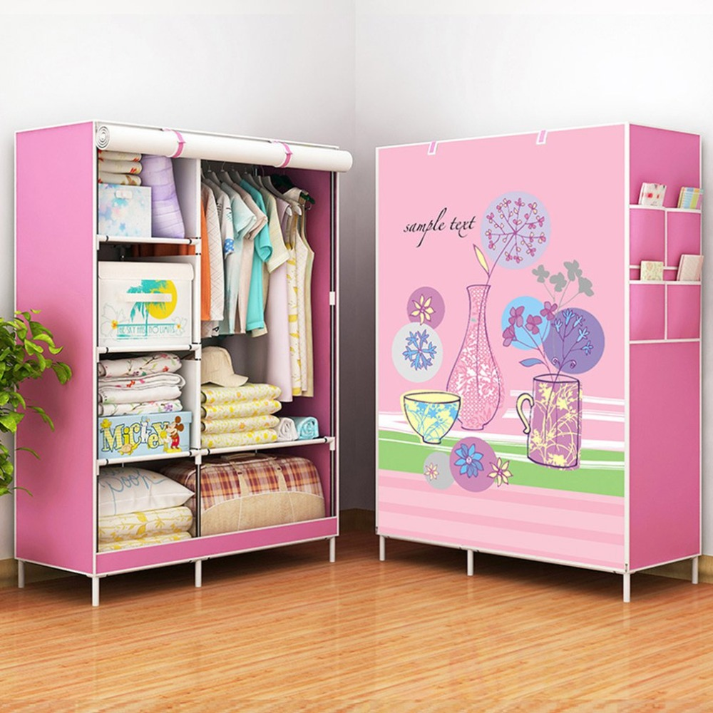 цена на Wardrobe Storage Large capacity Simple Closet Double hanging assembly Cabinets Fold cloth furniture Reinforcement Stowed Clothes