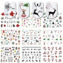 11 Pcs 3D Nail Stickers Kerst Kerstman Herten Wraps Decal Lijm Tip Manicure Slider Charm Nail Art Decoratie JIE875 885