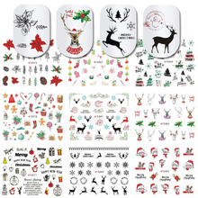 11pcs 3D Nail Stickers Christmas Santa Clause Deer Wraps Decal Adhesive Tip Manicure Slider Charm Nail Art Decoration JIE875 885