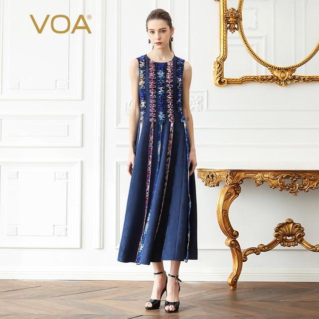 4eb641e9d7a18 VOA Heavy Silk Pleated Dress Women Long Party Dresses Plus Size 5XL Slim  Tunic Ruffle Vintage Navy Blue Sleeveless Summer A377