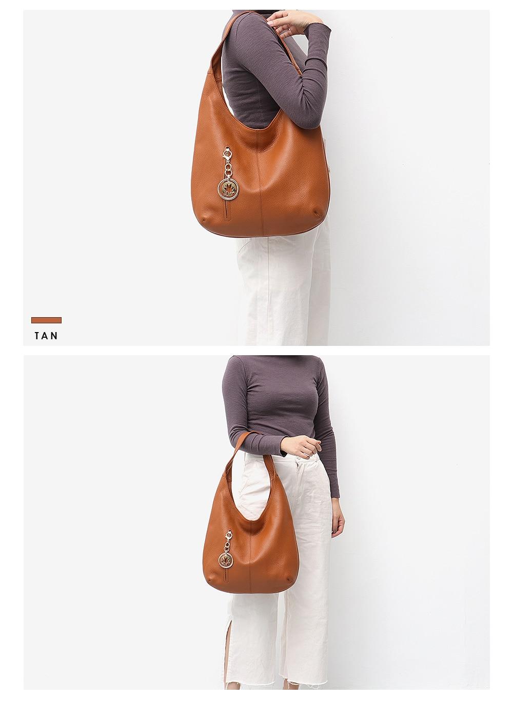 Women\'S Handbags Tote Ladies\' Genuine Leather Bag Luxury Cowhide Hobo Shoulder Bag Female Pillow For Woman