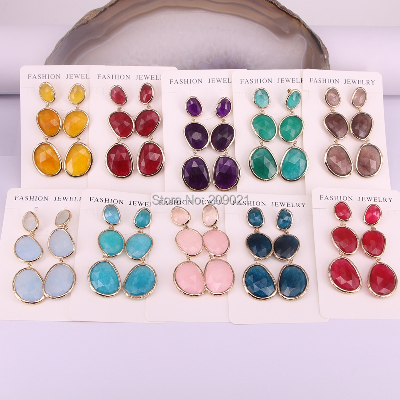 5Pair Gorgeous Bohemian Women Earrings in Gold Color Colorful Gem Stone Dangle Earring Jewelry