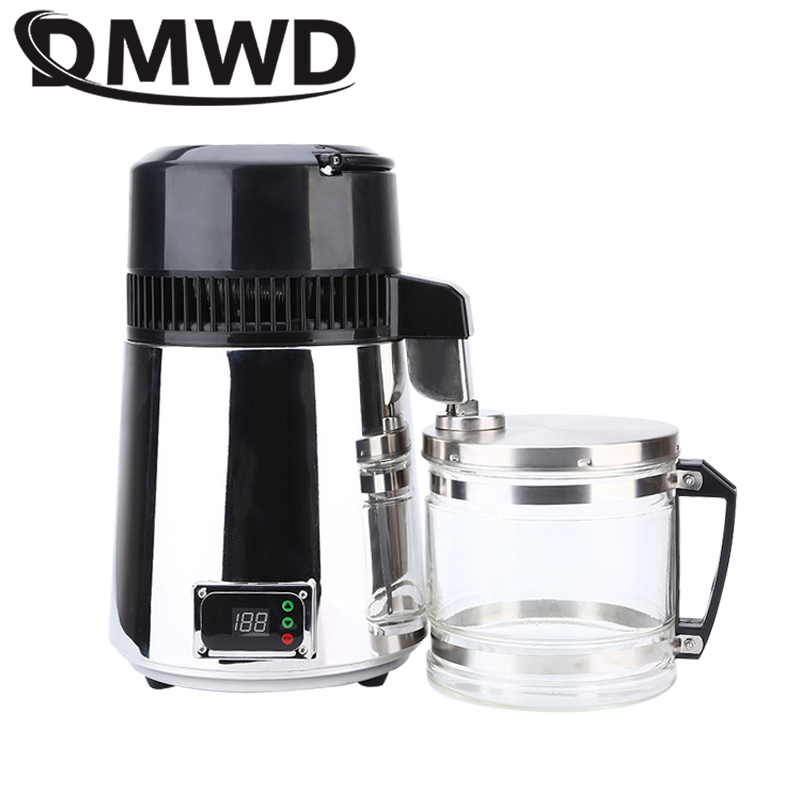 DMWD Pure Water Distiller 304 Stainless Steel Distilled Water Machine Dispenser Filter 4L Dental Distillation Purifier 110V 220V