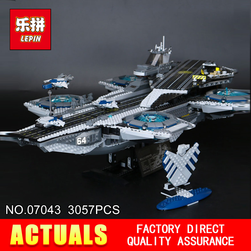 3057Pcs LEPIN 07043 Super Heroes The SHIELD Helicarrier Model Building Kits  Blocks Bricks Boy Toys Compatible 76042 3057pcs 07043 the shield helicarrier set captain america winter soldier building blocks bricks compatible with lego
