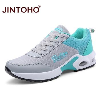 JINTOHO 2019 nowych kobiet buty sportowe marki kobiet buty do biegania oddychające buty damskie tanie trenerzy kobiet kobiet Sneakers tanie i dobre opinie WOMEN Początkujący Dla dorosłych Wysokość zwiększenie Masaż Niskie Pasuje prawda na wymiar weź swój normalny rozmiar