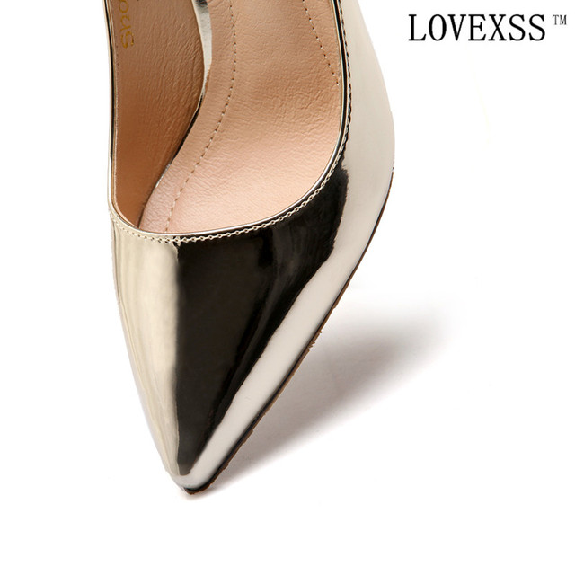 LOVEXSS Thick with Pumps Sexy Patent Leather High Shoes Golden Silver Brown Plus Size 33 - 43 2017 spring Asakuchi Pumps Cheap