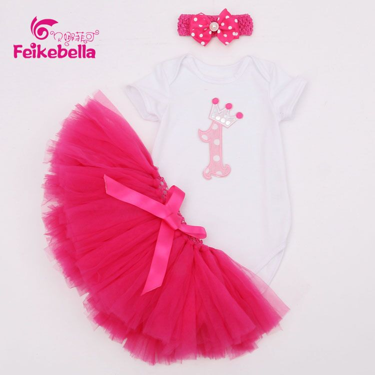 EMS DHL free shipping baby girls Infants 3pc Suit Birthday Wear Cartoon tutu Suit Romper Skirt Headband Baby Outfit Infant wear