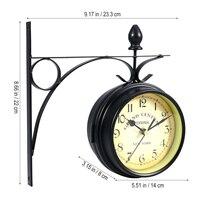 Metall Wanduhr Metall Rahmen Glas Uhr Vintage Dekorative Antiken Stil Wand Hängen Uhr Doppelseitige von hause schmücken
