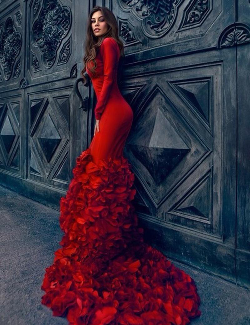 Red Ruffles Formal Dresses Long