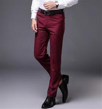 Najnowszy bordowy koszulka męska Slim Fit garnitur spodnie ślubne formalne biznes proste spodnie męskie biurowe spodnie wizytowe tanie tanio Poliester Wiskoza Zipper fly Mieszkanie Smart Casual X-1009 Bowith Men Suit Pants 75 Polyester 25 Viscose Formal Casual