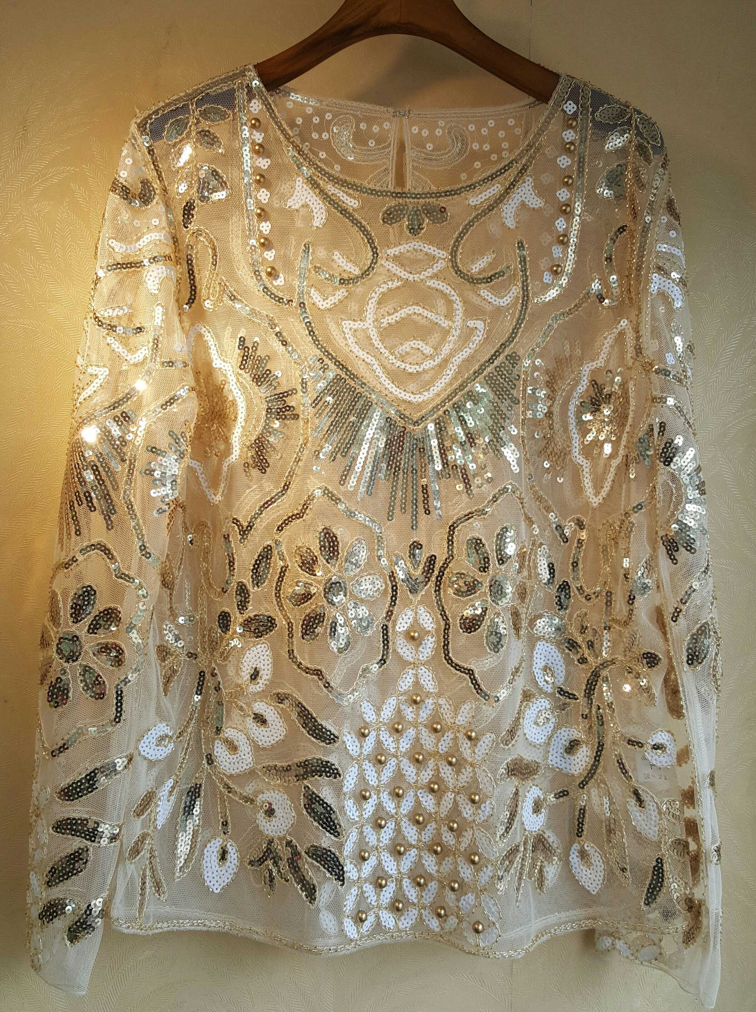 Nouveau 2019 européen bling bling lourd dessin perles paillettes à manches longues blouse perspective redingote