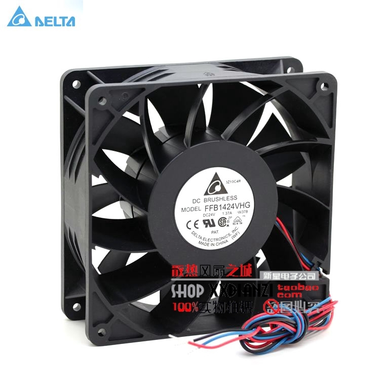 DELTA FFB1424VHG 14050 14CM 24V 1 37A fan case industrial cooling fan three line winds