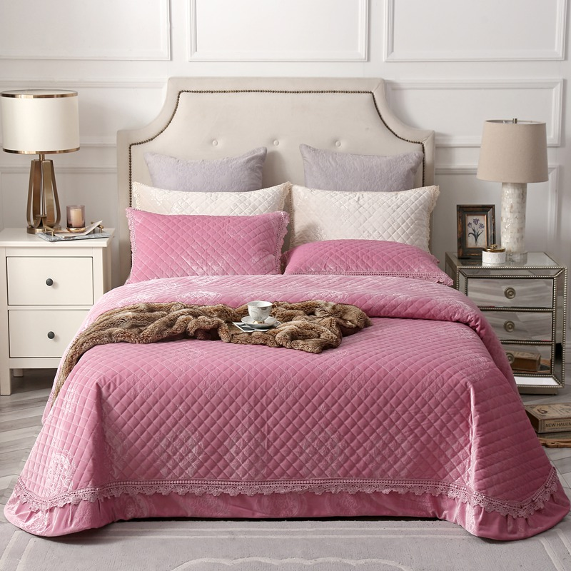 Famvotar Luxury Velvet Diamond Quilted Bedspread Embossing Ruffle Bed Spread Quilted Coverlet Set 245X245CM 3Pcs Queen Size Pink