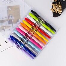 12 PCS Jinhao Colorful Fountain Pen Transparent Diversity Color Case Set Cute Shark Cap EF/F/Bent with Refillable Converters