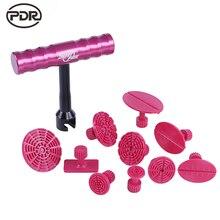PDR Tools Kit Paintless Дент Ремонт Инструменты Дент Удаления Мини Lifter Дент Съемник Маленький Красный T-Bar Съемник Клей Вкладки Всасывания чашки