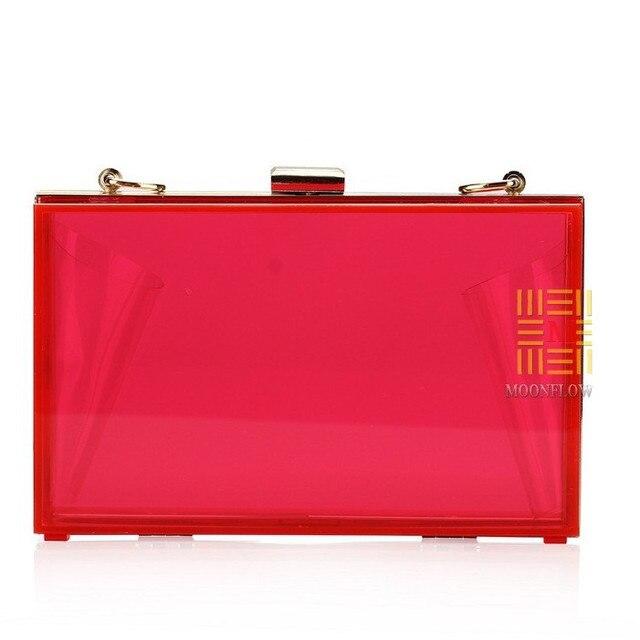 Top Quality Women Day Clutch Candy Colored Transparent Acrylic Bride Handbag Shoulder Messenger Bag Long Chain Evening Bag