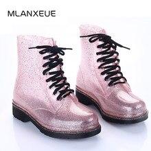 5523f6aa07 MLANXEUE Transparent Femmes Bottes Impression De Gelée Bottes Chaussures  Femmes Effacer bottes de pluie Brillant à lacets Fleur .