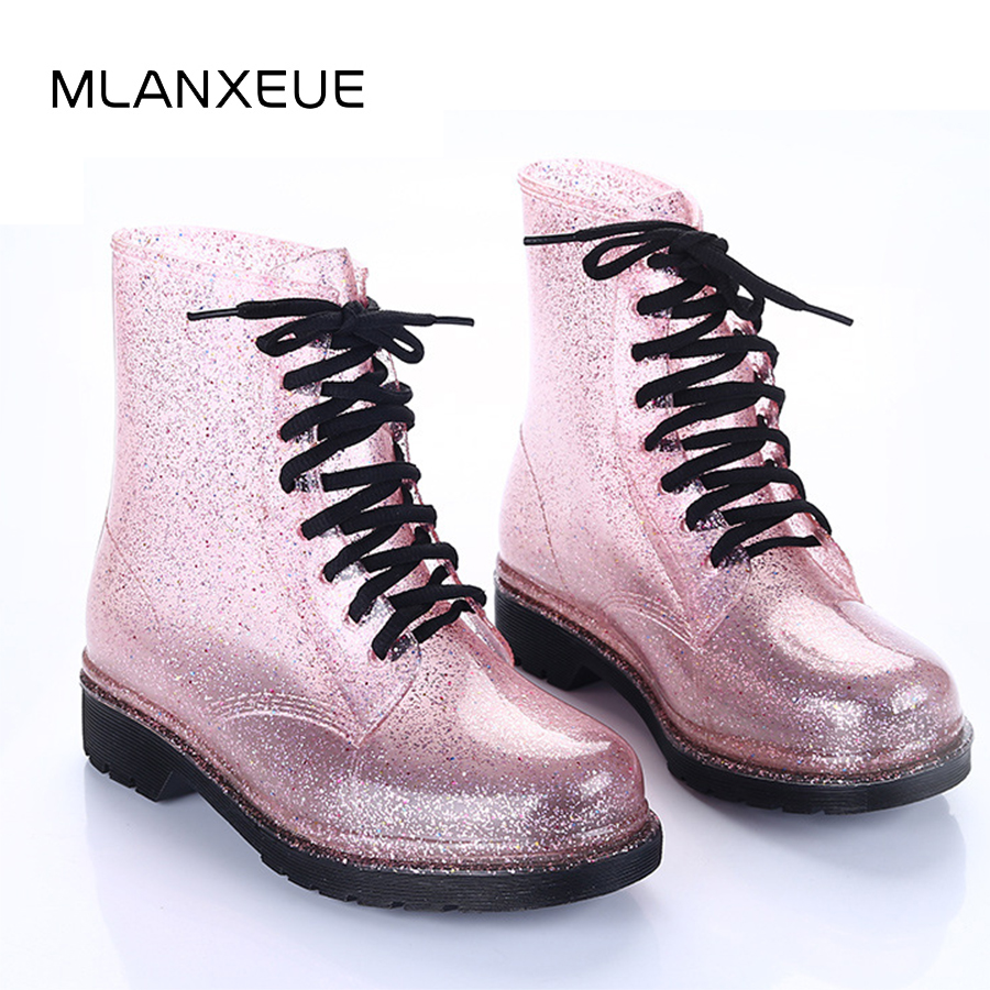 MLANXEUE Transparent Women Martin Boots Print Jelly Boots Shoes Women Clear Rain Boots Shiny Lace-up Flower Pattern Lady Boots поло print bar flower pattern