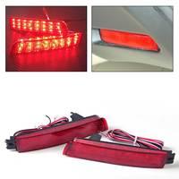 DWCX 2pcs Red Lens LED Rear Bumper Reflector Rear Tail Brake Light 26560 5C000 for Nissan Juke Murano Sentra Infiniti FX35 FX37