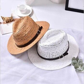43b914c6eb674 Ymsaid Men Women Handmade Fedora Panama Hats Fashion Hollow Beach ...