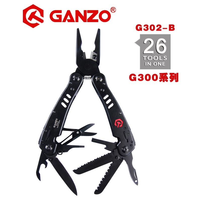 Ganzo G302 series G302-B Multi pliers 26 Tools in One Hand Tool Set Screwdriver Kit Portable Folding Knife Stainless pliersGanzo G302 series G302-B Multi pliers 26 Tools in One Hand Tool Set Screwdriver Kit Portable Folding Knife Stainless pliers