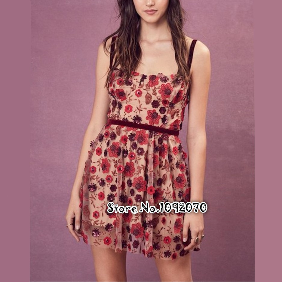Women Love Beatrice Mini Dress In Red Sequin Flowers Spaghetti Straps Underwire Cups 3-D Embroidery Floral Mini Dress
