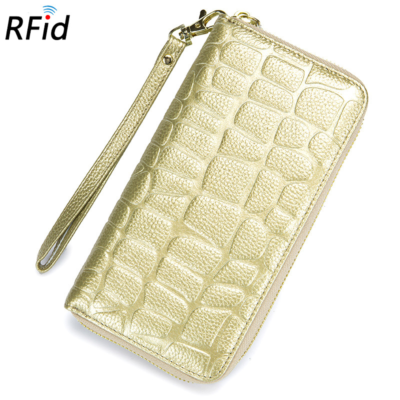 Fashion Rfid Women Wallets Genuine Leather Long Zipper Clutch Wallet Lady Purse Stone Pattern Carteira Portefeuille Femme
