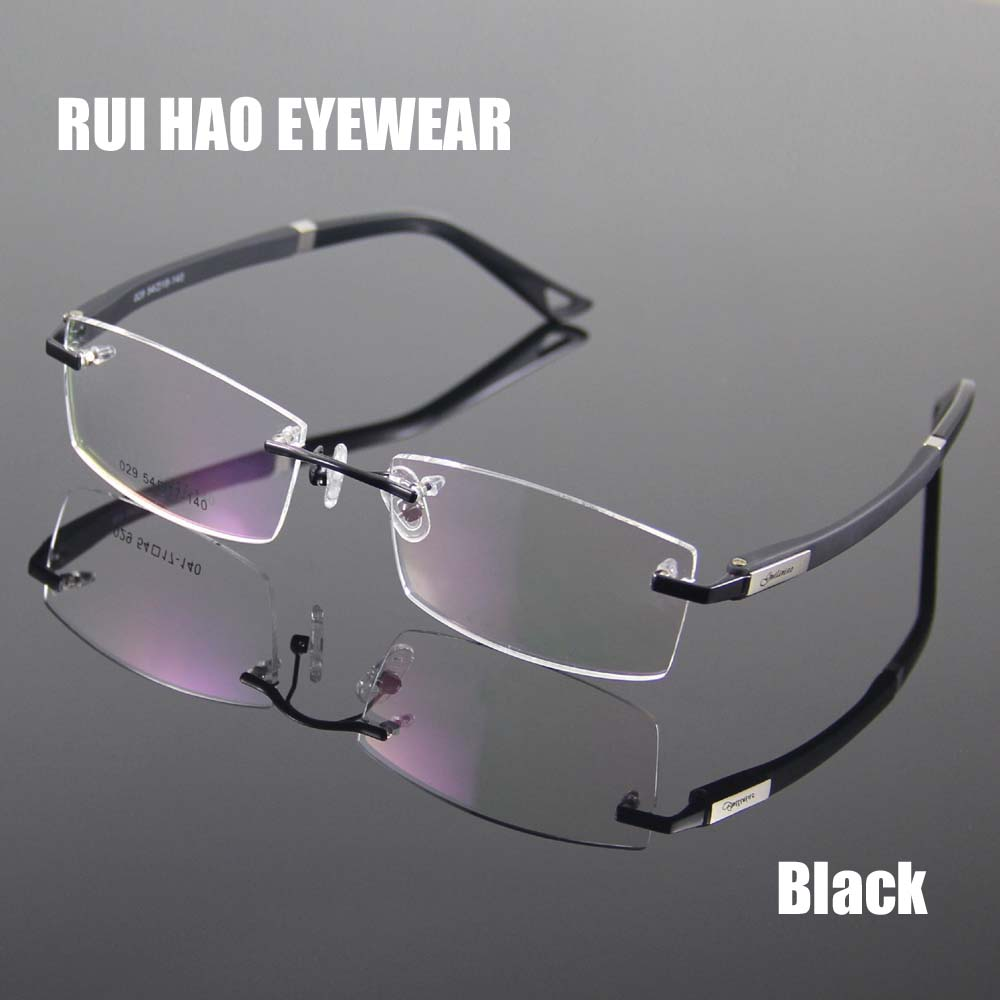 rimless glasses frame designer spectacles