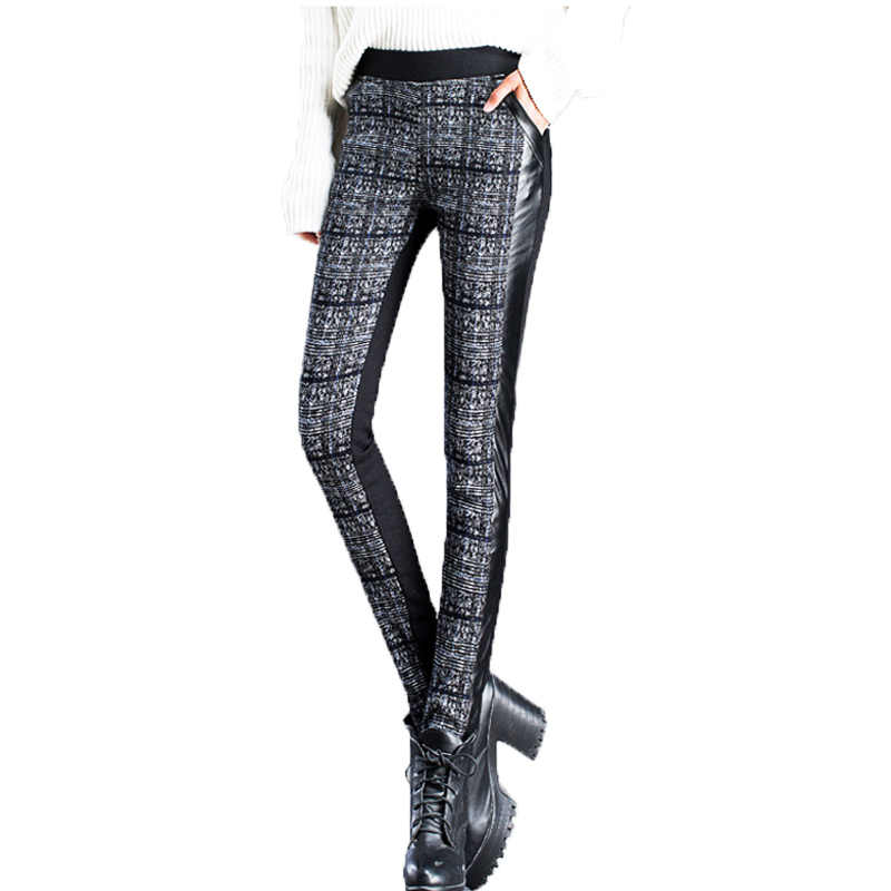 Winter Hosen Frauen 2019 Vintage Plaid Weibliche Bodycon Leggings Elastische Hohe Taille Hose Fleece Dame PU Patchwork Bleistift Hosen