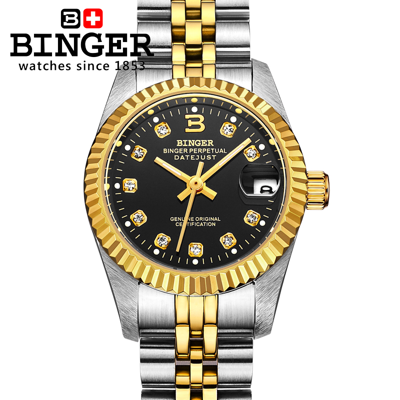 Switzerland Wristwatches BINGER 18K gold Women's watches self-wind automatic winding mechanical Wristwatches BG-0375 original binger mans automatic mechanical wrist watch date display watch self wind steel with gold wheel watches new luxury