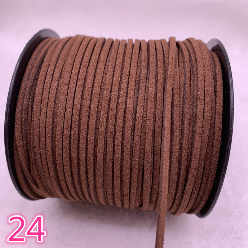 NEW 5yards/lot 3mm Flat Faux   Suede   Braided Cord Korean Velvet   Leather   Handmade Beading Bracelet Jewelry String #24