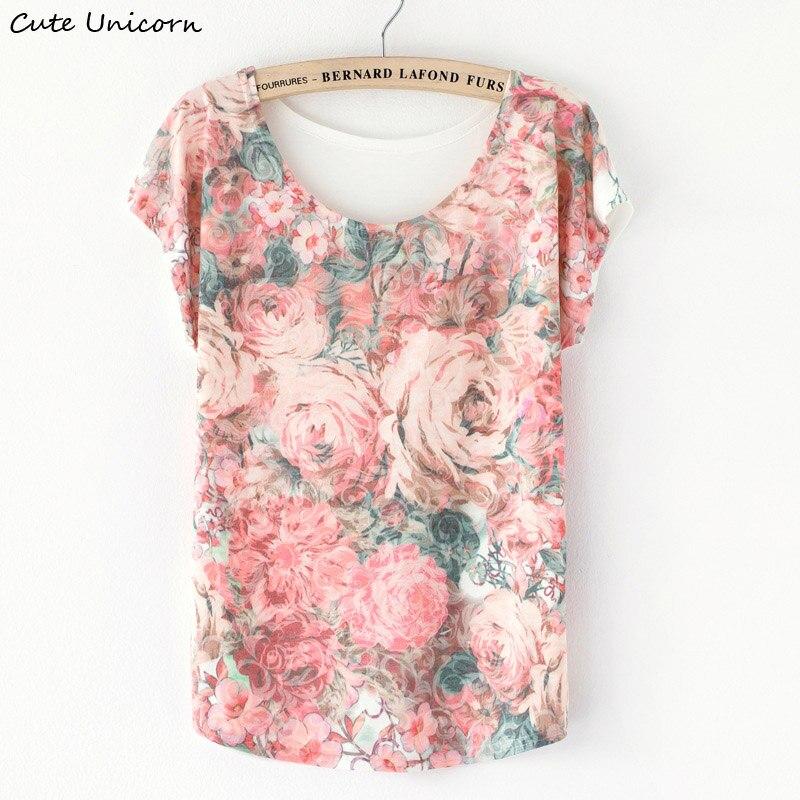 Cute Unicorn Fashion girls Women's tshirt Casual Floral Print short sleeve t shirt summer Shirt Bat Tropical Floral shirts Tops