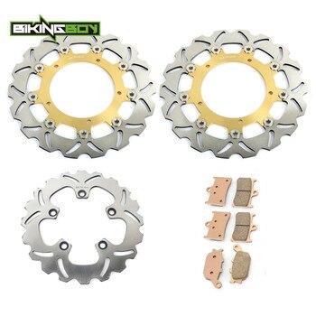 BIKINGBOY Front Rear Brake Discs Rotors Disks + Pads for Yamaha FZ6 / S2 07 08 09 FZ6 Fazer S2 2007 2008 2009 4 Piston Caliper