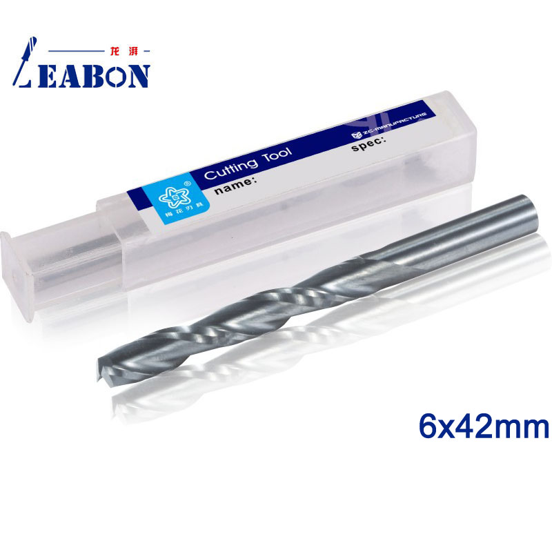 LEABON 6x42mm Precision Double Spiral Flute Wood Cutter Micro End Mills Carbide For Woodwork Cnc Milling Machine Free Ship