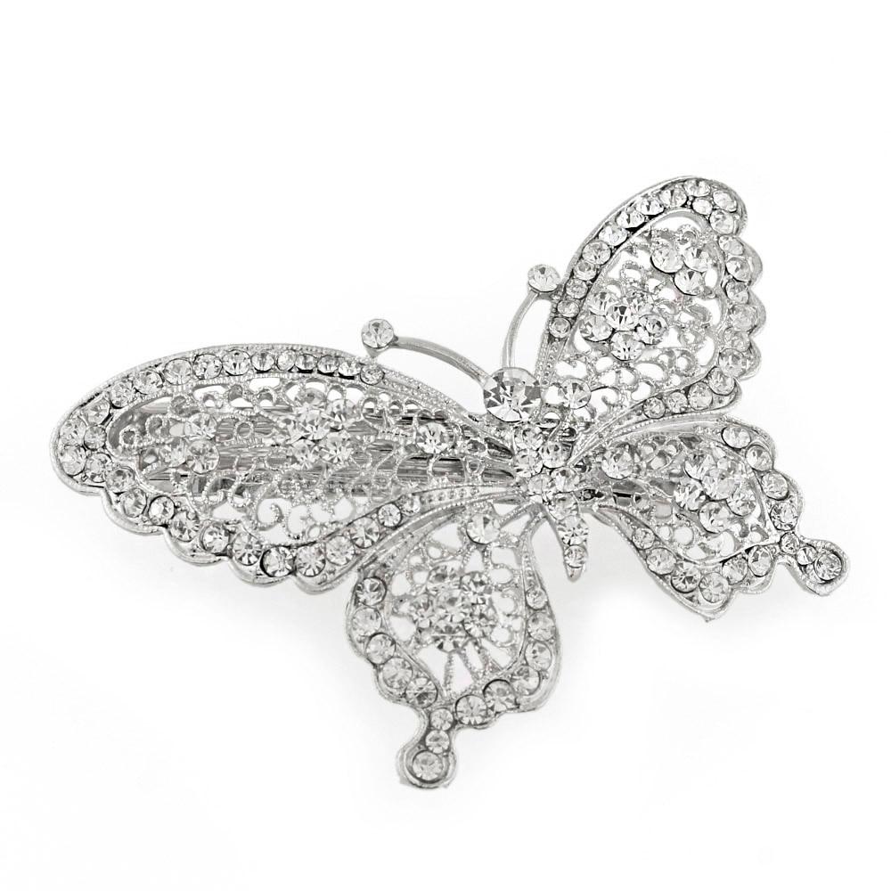 Amazing Butterfly Hairpin Mavi Kristal Baş geyimləri Barrette Saç - Moda zərgərlik - Fotoqrafiya 3