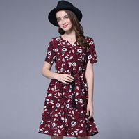 Feierhaosi merk womens casual jurk fashion nieuwe stijl bloemenprint losse jurk zomer grote maat tops jurken voor vrouwen