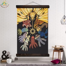 цена на NARUTO Six Realms Wheel of Life Wall Art Print Picture And Poster Frame Hanging Scroll Canvas Painting Canvas Poster Home Decor