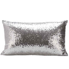 2019 latest hot sale rectangular sequin pillowcase silver sequin sofa bed home decoration pillowcase cushion cover(China)