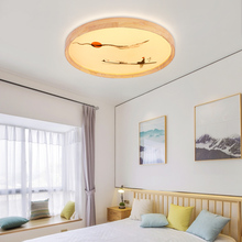 Ultra-thin modern wood ceiling light simple modern creative wood art room study balcony Chinese style Zen led bedroom lamp