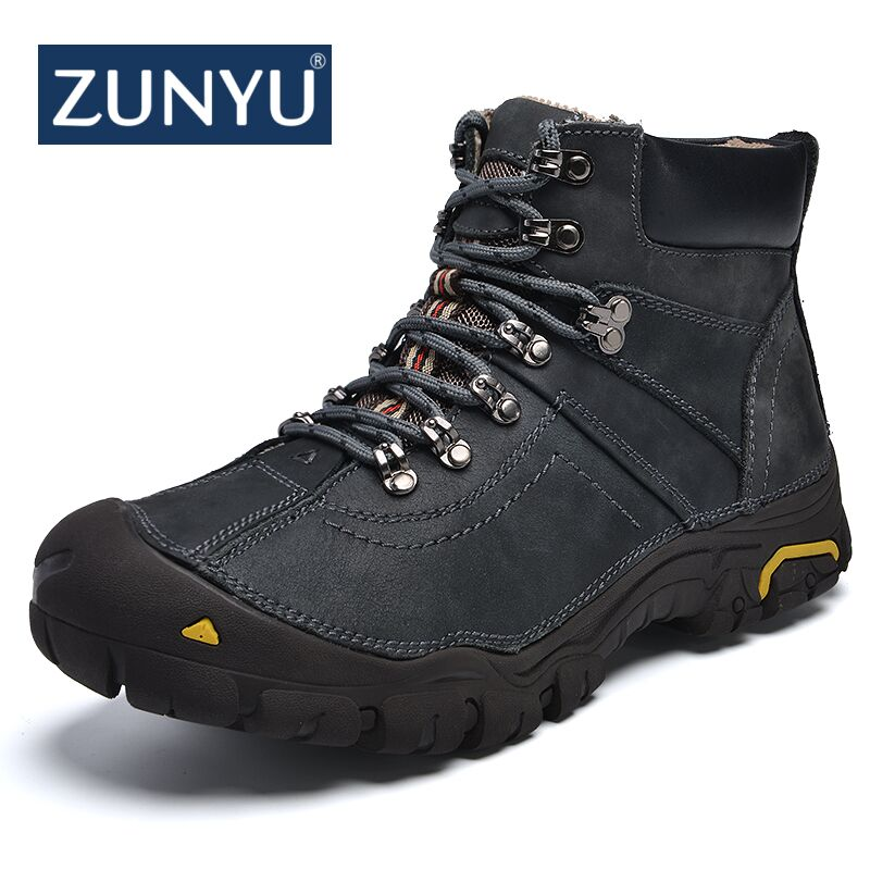 ZUNYU New Genuine Leather Men Boot Fashion Man Winter Snow Boots keep Warm Boots Plush Ankle Snow Work Shoes Men's Snow Boots